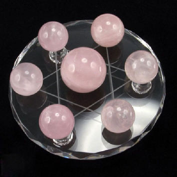 Seven Brazilian Pink Crystals Natural Ornaments Jewelry
