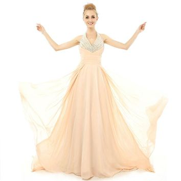 New Beauty Sexy Chiffon Sleeveless Beads Backless A Line Long Prom Dresses Floor Length Prom Gowns