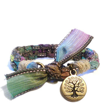 Tree of Life Silk Bracelet Original OOAK Bohemian Yoga Jewellery Hippie Handmade Hemp Yogi Gift For Her Christmas Stocking Stuffer Under 50