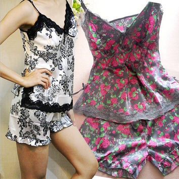 Womens Floral Lace V-neck Pajamas Set Sleepwear Home Clothes Nightdress  F_F = 1902037508