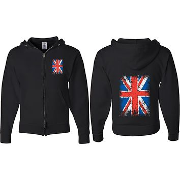 Union Jack Full Zip Hoodie Front and Back