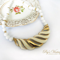 Beautiful Vintage White & Gold Lucite Bead Necklace, Large Ivory And Gold Enamel Pendant Necklace/Choker
