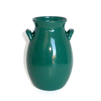 Hunter Green Vase, Dark Green Vase, Green Pitcher Vase, Vase With Handles, Green Flower Vase, Green Pottery, Vintage Pitcher Vase