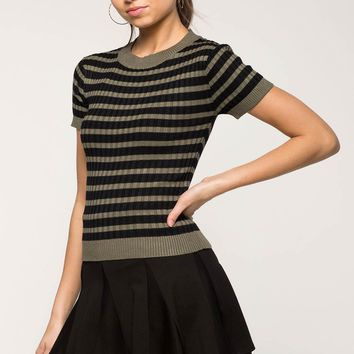 Striped Contrast Ribbed Tee