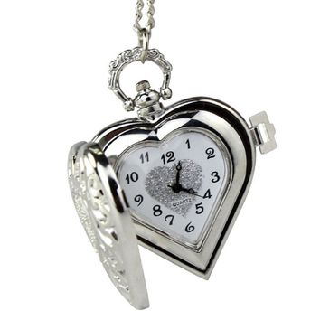 2014 Susenstore Vintage Steampunk Heart Locket Style Pendant Pocket Watch Nec...