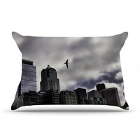 """Sylvia Cook """"Seattle Skyline"""" City Clouds Pillow Case"""