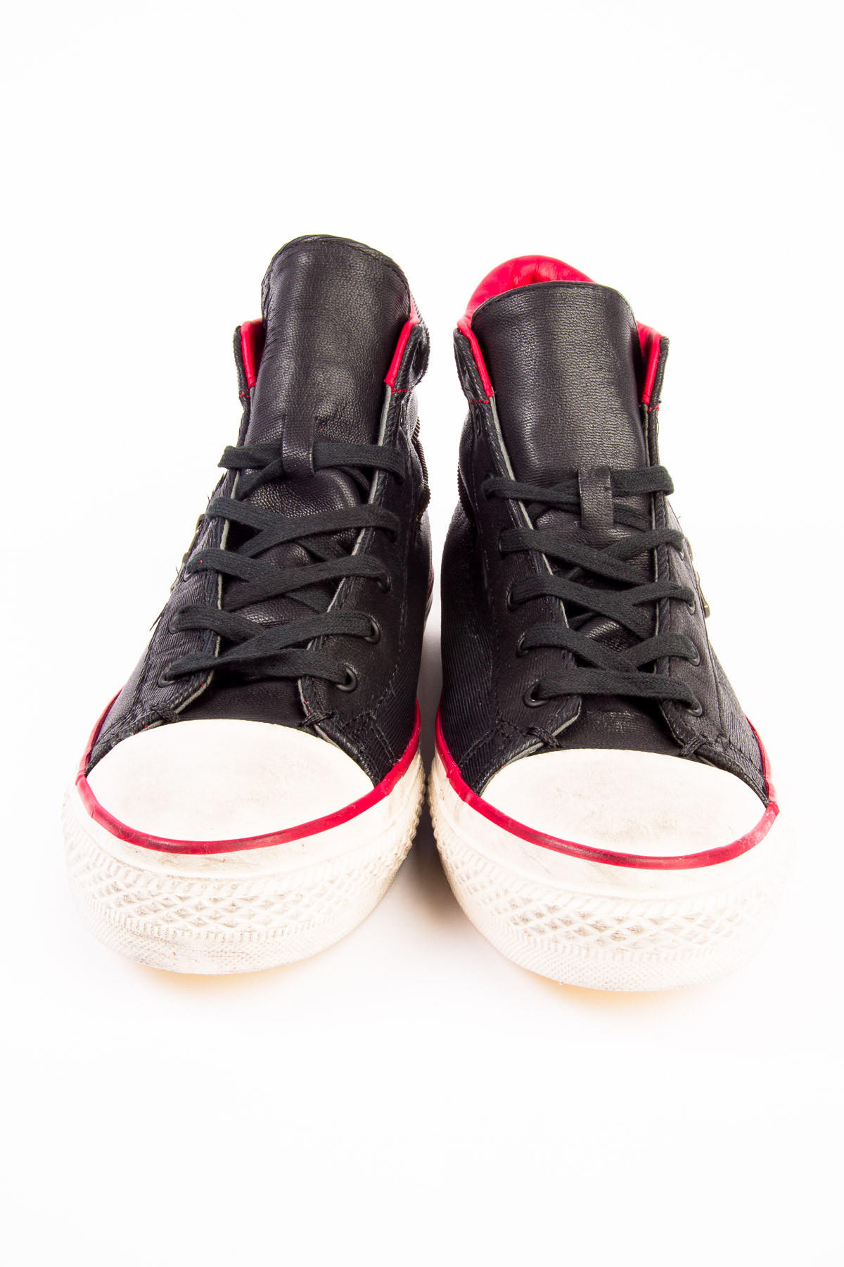 2d4e8040fc21 John Varvatos x Converse Scratched Leather Mid Back Zip Black Chili Sneaker