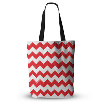 "KESS Original ""Candy Cane Red"" Chevron Everything Tote Bag"