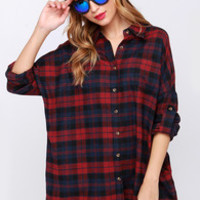 Lucky Like a Lumberjack Wine Red Flannel Shirt Dress