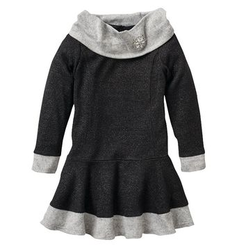 Youngland Shimmer Cowlneck Dress - Girls