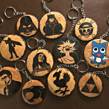 Custom Wood burned Pendant Necklace or Keychain- Personalized Jewelry Fandom Geeky Unisex Accessories
