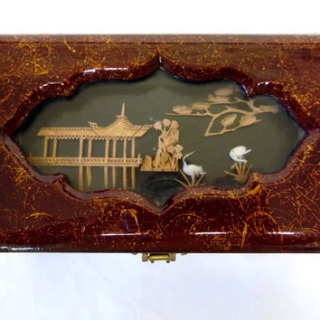 Oriental Jewelry Box Lacquered Wood Inlaid