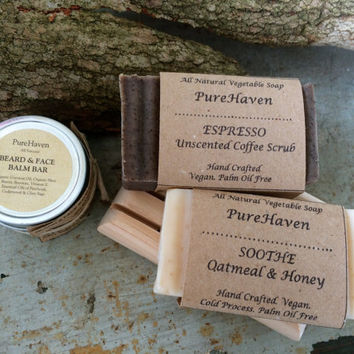 Men's Gift Set: Soap, Beard & Face Balm, Soap Dish. Body/Shaving Soap. Scented/Unscented. Choose To add Beard/Face Serum. Gift For Him / Dad