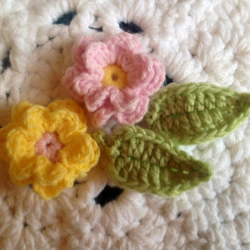 Hand Crochet Flower Appliques Embellishments Shabby Chic Set of 4- Key Lime Pie, Sunshine Yellow, And Cotton Candy Pink