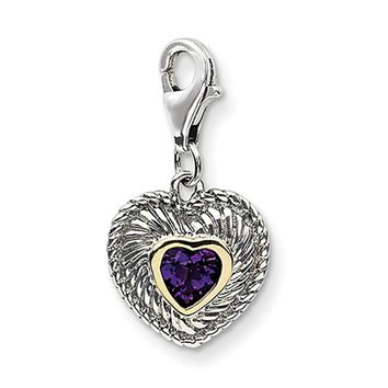 925 Sterling Silver 14kt Gold Rimmed 3D Amethyst Heart Clasp Charm