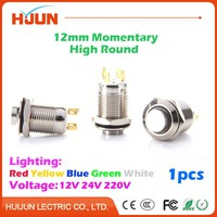 1pcs 12mm Momentary High Round Waterproof  Stainless Steel Metal Push Button Switch LED Light Shine Car Horn Auto Reset