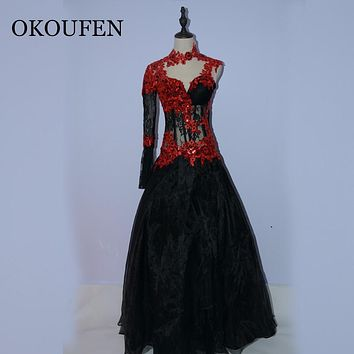 fashion red black long prom dress 2016  high neck appliqes lace beaded long sleeve  women pageant gown for formal evening party