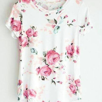 Streetstyle  Casual Fashion Teenage Round Neckline Little Floral Print Top