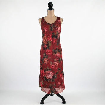 Sleeveless Dress Burgundy Floral Dress Chiffon Dress Women Large Summer Dress Size 12 Dress Petite Clothing Vintage Clothing Womens Clothing
