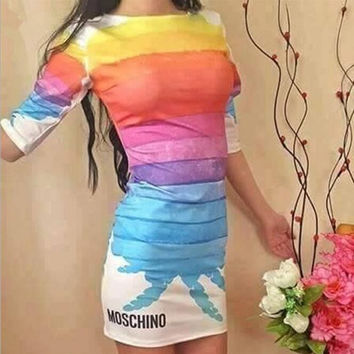 Sexy Rainbow Print Bodycon Dress
