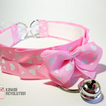 Choker Gothic Lolita Pastel Goth white Pink Collar Necklace with Ribbon and bell kitten play pet play ddlg kittenplay petplay cat yes daddy