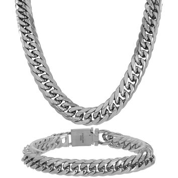 Miami Cuban White Gold Finish Chain Stainless Steel Mens 11 MM Designer Necklace