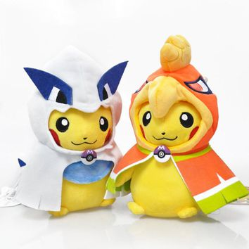 2pcs/lot 25cm Pikachu Cosplay Plush Toy Smile Pikachu Cosplay Mega Ho-Oh & Lugia Plush Stuffed Toys Doll for Children With Tag