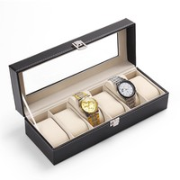 New Classic 6 Grid Casket Watch Winder Boxes case Refinement Slots Wrist Watches Gift Jewelry Leather Display Storage Holder