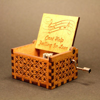 Engraved  wooden music box (Can't Help Falling in Love -  Elvis Presley)