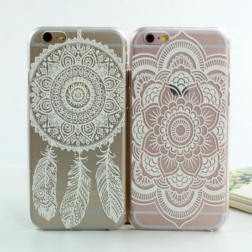 White Floral Paisley Flower Mandala PC Case Cover For iphone 7 6 6s 6 Plus Retro Flower Print Case for iphone 6 6s 6 plus 5 5s