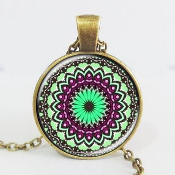 Antique bloom mandala flower pendant henna yaga necklaces jewwlry dome glass handmade necklace om symbol buddhism zen 2016 Antique Bronze Plated