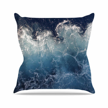 "Suzanne Carter ""Sea Spray"" Navy Ocean Outdoor Throw Pillow"