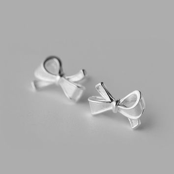Silver Bow Stud Earrings, Sterling Silver Bow earrings,knot earrings,silver stud earrings,Bow jewelry,silver jewelry,gift for her