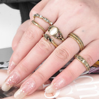 Vintage Ethnic Style Old Gold Ring 6 Pcs Retro Rings Gift-178