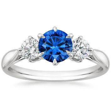 18K White Gold Sapphire Three Stone Catalina Diamond Ring