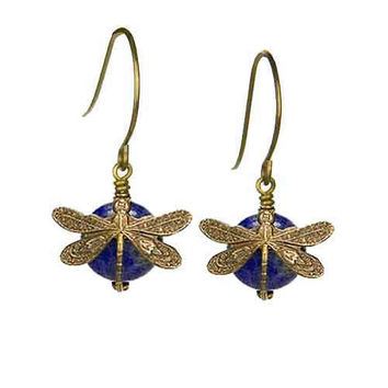 Dragonfly Earrings in Vintage Natural Brass with 10mm Denim Lapis Stone