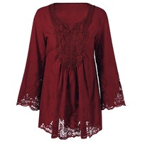 Lace Patchwork Peasant Top