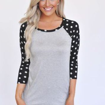 Polka Dot Baseball Tee- Black