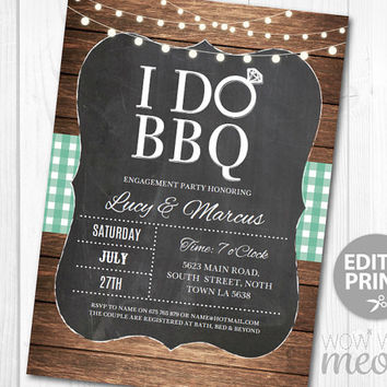 I do BBQ Invitation Rustic Engagement Party Couples Shower Printable Invite INSTANT DOWNLOAD Teal Mint Green Check Personalize Edit Print