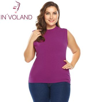IN'VOLAND Women Knit Sweater Plus Size XL-5XL Autumn Spring Casual Sleeveless Solid Slim Fit Thin Large Pullover Vest Big Size