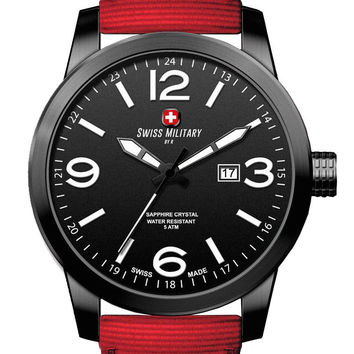 Swiss Military by R 50504 37N N Sniper Men's Watch Red Nylon Strap Black Dial