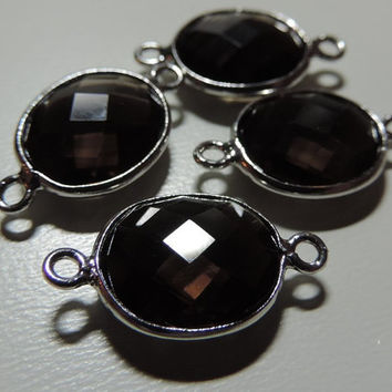 AAA Calibrated Smoky Quartz Faceted Oval Sterling Silver Connector - 1 pc, 19x11 mm
