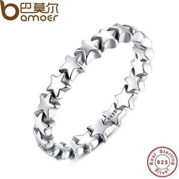 CREYCI7 BAMOER Star Trail Stackable Finger Ring For Women Wedding 100% 925 Sterling Silver Jewelry 2016 New Collection PA7151