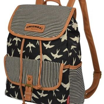 Unionbay Women Canvas Vintage Retro Stripes & Birds Pattern Backpack/School Bag