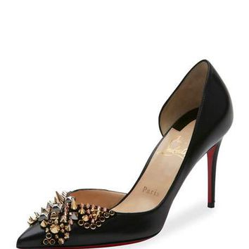 Christian Louboutin Farfa Spikes Half-dOrsay 85mm Red Sole Pump
