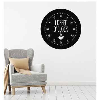 Vinyl Wall Decal Coffee Time Clock Good Morning Break Room Stickers Mural (g3015)