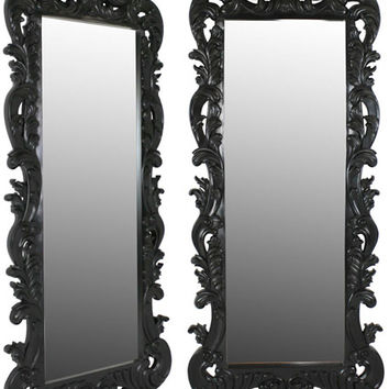 French Noir Black Painted Rococo Tall Mirror