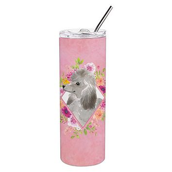 Grey Standard Poodle Pink Flowers Double Walled Stainless Steel 20 oz Skinny Tumbler CK4233TBL20