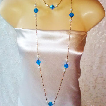 Vintage Flapper Chain Necklace Blue Diamond Cut Bead White Pearl Gold Chain Necklace Ex Long Valentine Special Hippie Costume Jewelry Estate