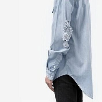 Denim Shirt Ripped Holes Unisex Jacket [10368007107]